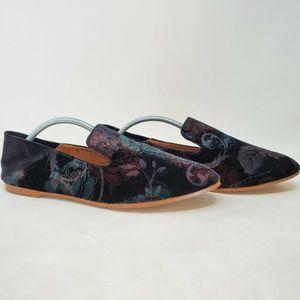 HALOGEN Sylvia Fabric Velvet Floral Slip On Loafer